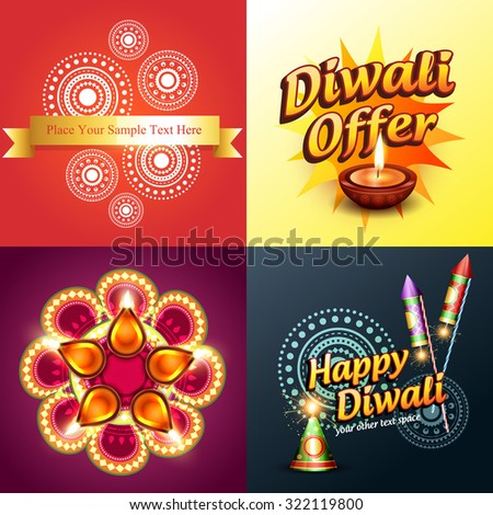 vector set of diwali background in different style and illustration - stock vector