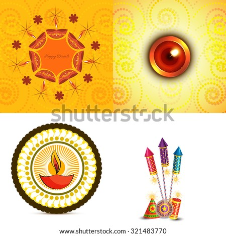 vector set of diwali background  with crackers and diya illustration - stock vector