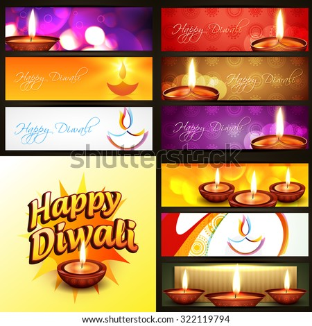 vector set of diwali banner in different style and background illustration - stock vector