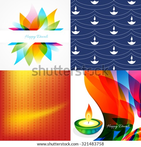 vector set of diwali holiday background with colorful diya, leaf illustration - stock vector