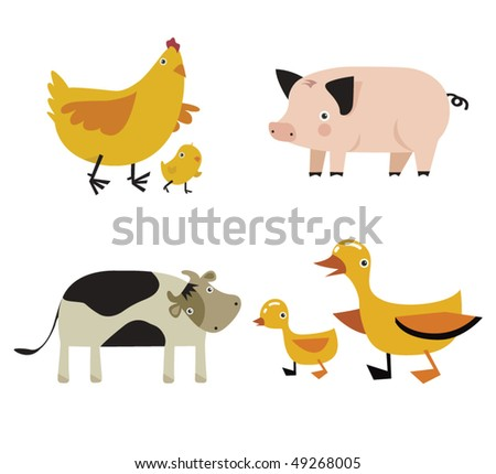 vector set of domestic animals - stock vector