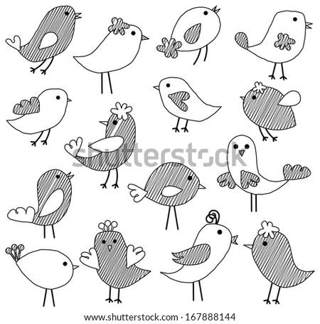 Vector Set of Doodle Style Birds - stock vector