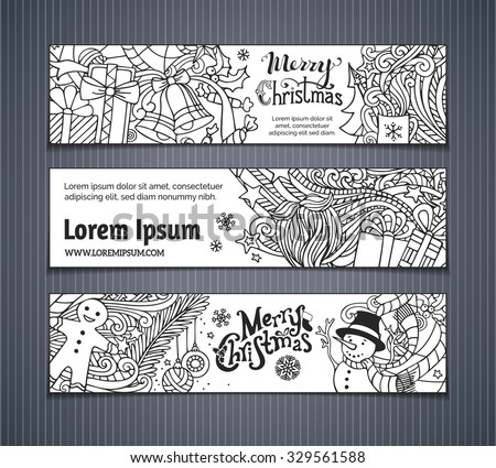 Vector set of doodles Christmas banners. Christmas tree and baubles, Santa sock, hat and beard, mistletoe, gift boxes, snowman, swirls and hand-written text, gingerbread man, bells and ribbons. - stock vector
