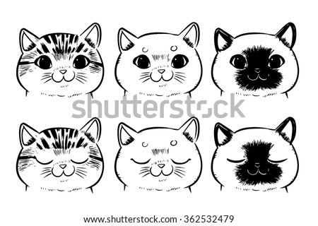 Line Drawing Cat Face : Vector set drawing cat face isolated stock