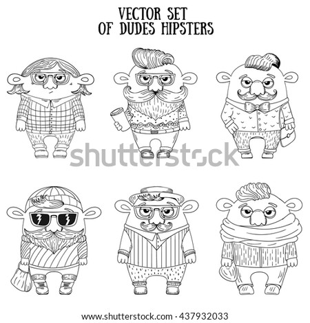 Vector set of dudes hipsters. Hipster characters sketch illustration.