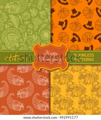 Vector set of duotone seamless Thanksgiving patterns. Corn, horn of plenty, grape, pilgrim's hat, pumpkin, turkey, wheat, autumn leaf, sunflower, apple. Boundless hand-drawn harvest backgrounds.