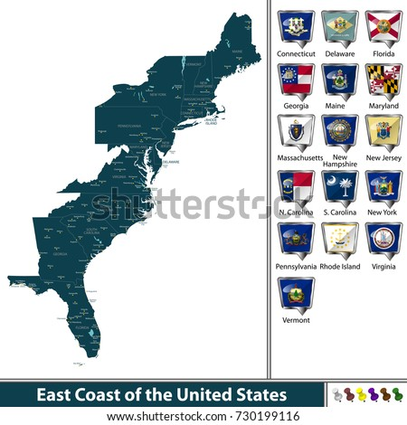 Vector Set East Coast United States Stock Vector 730199116