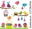 Vector Set of Easter Birds - stock photo