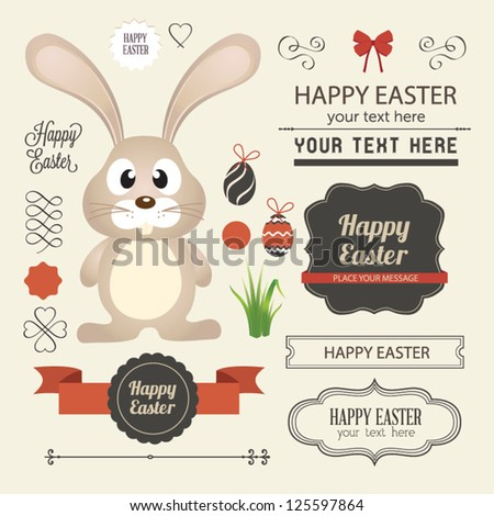 Vector set of easter ornaments and decorative elements, vintage banner, ribbon, labels, frames, badge, stickers. Vector easter element  with retro vintage styled design. Vintage easter bunny - stock vector