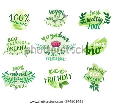 Vector set of eco friendly food labels. Vegetarian bar, restaurant, vegan cafe menu logos. Packaging tags for bio products. - stock vector