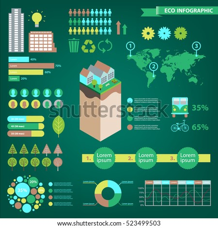 Vector set of eco infographics. World map, charts, trees, urban icons on green background. Environment, ecosystem, population