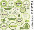 Vector set of eco  labels and vegetarian  design elements, fully editable eps8  file - stock vector