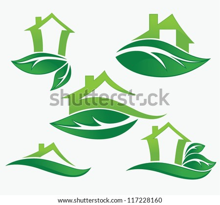 vector set of ecological city and homes signs and icons - stock vector
