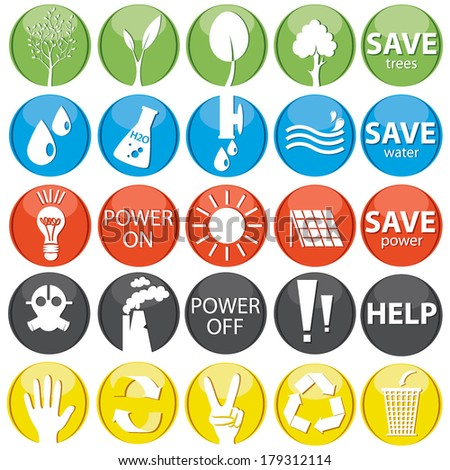 Vector set of ecology icons/buttons eps 10