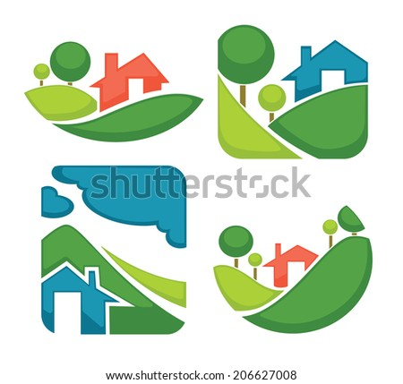 vector set of ecology, nature, house and homes signs and icons - stock vector