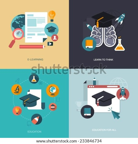 vector set of education banners - stock vector
