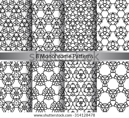 vector set of  eight monochrome pattern for background - stock vector