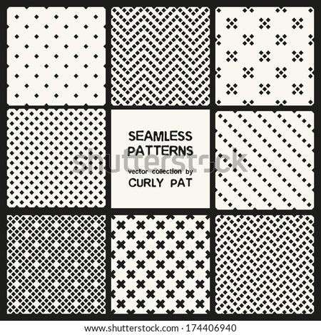 Vector set of eight seamless patterns. Modern stylish texture. Repeating geometric tiles. Geometric textures  - stock vector