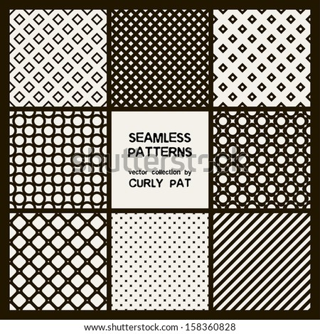 Vector set of eight seamless patterns. Modern stylish texture. Repeating geometric tiles. Rhombuses, grids and stripes - stock vector