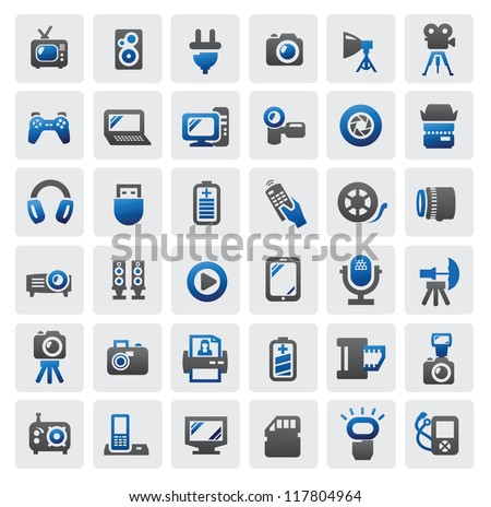 vector set of electronic devices on gray - stock vector