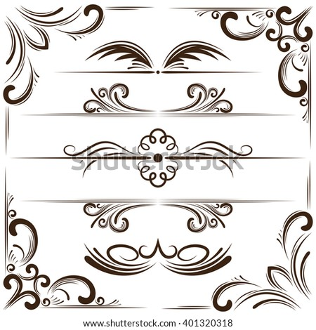 Vector set of elegant bookplates and corners for design - stock vector