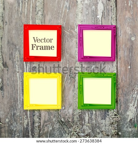 Vector set of elegant colorful wood textured frames for business presentation, corporate, board, stand with empty copy space.On realistic wood vector texture. - stock vector