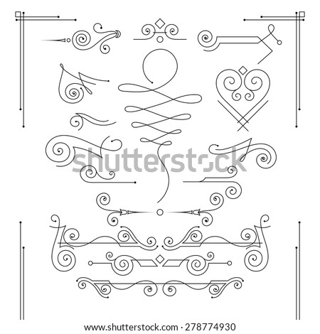 Vector set of elegant curls and swirls. Elements for design - stock vector