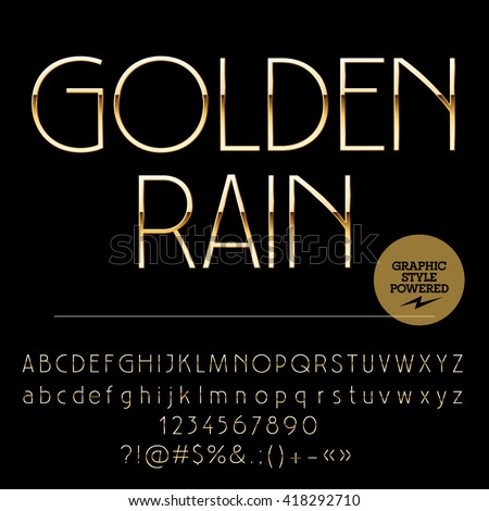 Vector set of elegant golden alphabet letters, numbers and punctuation symbols. Art Deco slim  style - stock vector