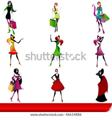 Vector set of elegant shopping girls illustration - stock vector