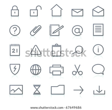 Vector set of elegant simple icons for common computer functions