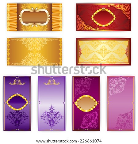 Vector set of elegant template luxury invitation, place for text - stock vector