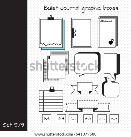 Vetor stock de vector set elements design bullet journal livre de vector set of elements for design bullet journal graphic boxes set 5 including ccuart