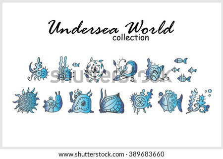 Vector set of elements for design. Undersea world collection. Doodle seaweeds, fish, coral, leaves, flower, snail. Black, white and beautiful color gradient - stock vector