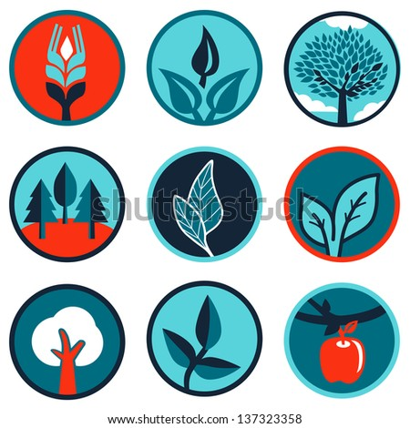 Vector set of emblems and signs with leaves and trees
