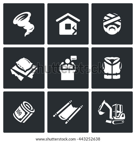 Vector Set of Emergency Service Icons. Hurricane, Earthquake, Victim, Homeless, President, Lifeguard, Financing, Evacuation, Analysis dam. Rescue in the aftermath of natural disasters. - stock vector