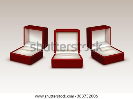 Vector set empty red white velvet stock vector 383752006 for Red velvet jewelry gift boxes