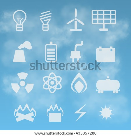 vector set of energetics symbols on  background of the sky