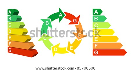 Vector set of energy efficiency rating diagrams - stock vector