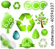 Vector set of environmental icons and labels isolated on white background. - stock vector