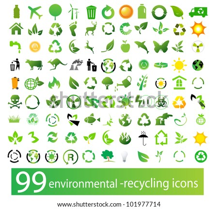 Vector set of environmental / recycling icons - stock vector