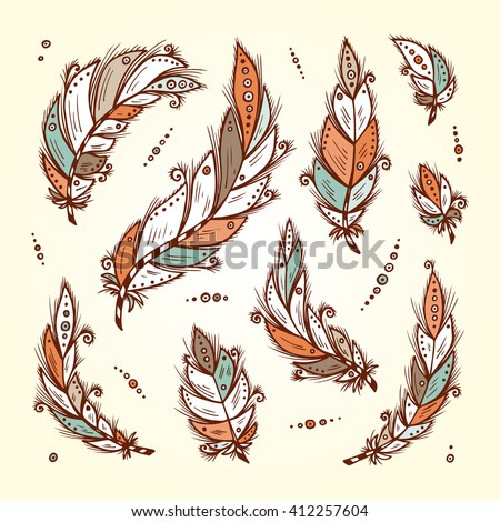 Vector Set of Ethnic feathers. Hand Drawn Tribal Feathers. Decorative feathers. Vintage colored Feathers. Bird feathers. - stock vector