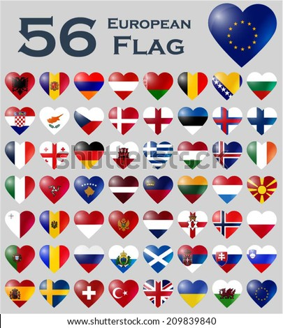 Vector set of European flags in heart shape.