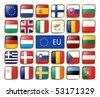 Vector set of European Union web button - stock photo
