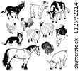 vector set of  farm animals,black and white pictures isolated on white background - stock vector