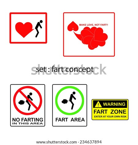 vector set of fart concept with signs and symbols. - stock vector