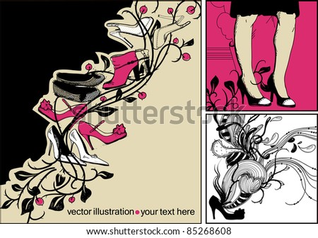 vector set of fashion cards with trendy shoes,boots,ballets and abstract plants and berries - stock vector