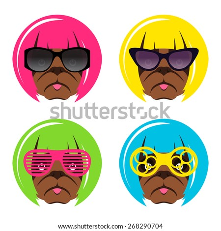 Vector set of fashion dog pug muzzle with glasses and wig