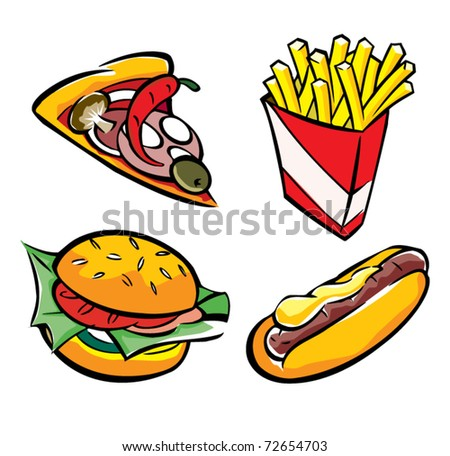 Vector set of fast food - stock vector