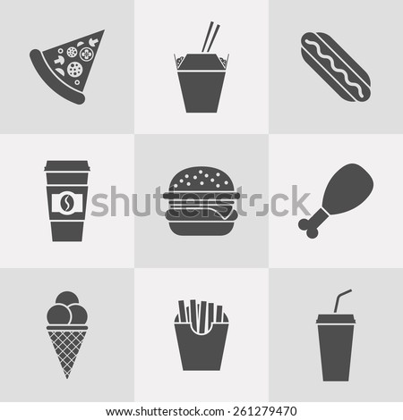 vector set of fast food icons - stock vector
