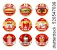 Vector set of fast food logos, stickers